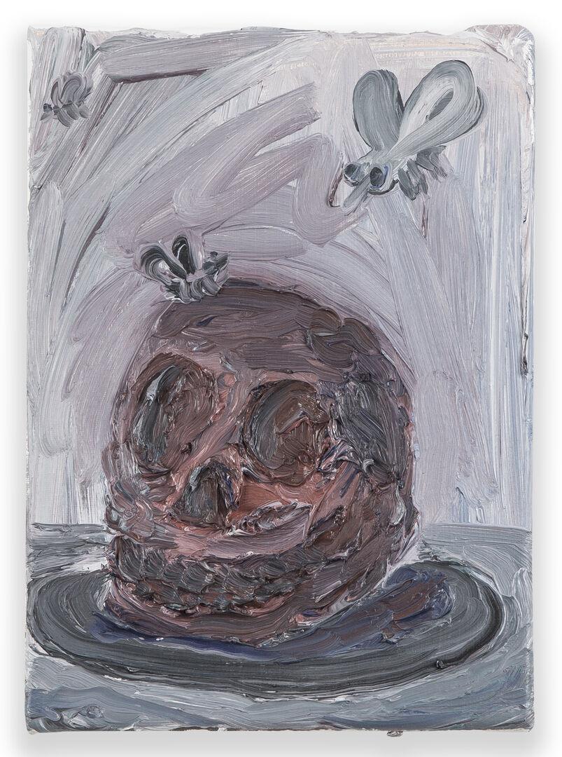 De vlezige schedel verwelkomt de aasgieren met zijn smakelijke glimlach_uitgesneden