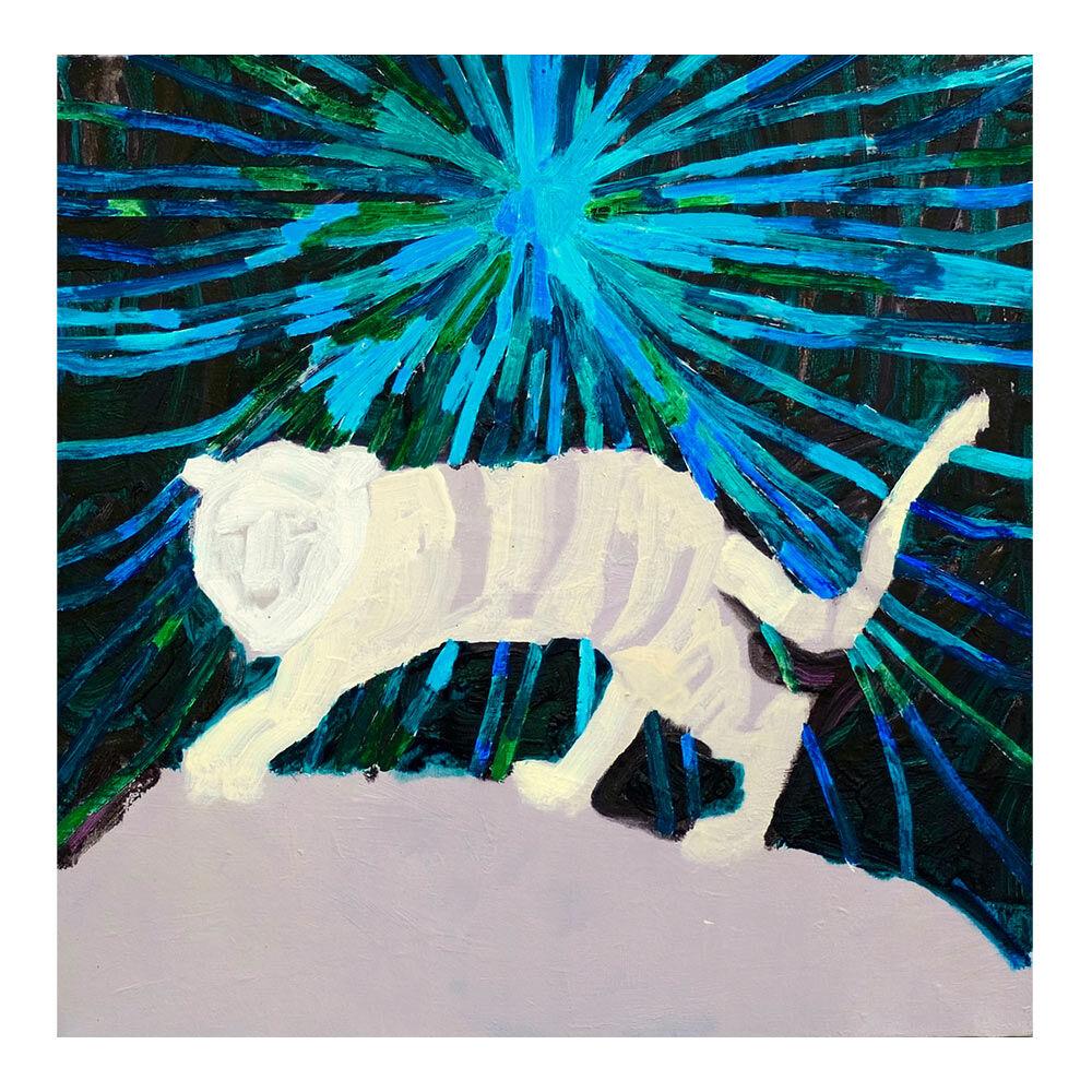 Fang Mij, Als ik weg ga van huis dan wordt de weg mijn thuis (blinde-tijger), 60 x 60 cm, olieverf op doek, 2017